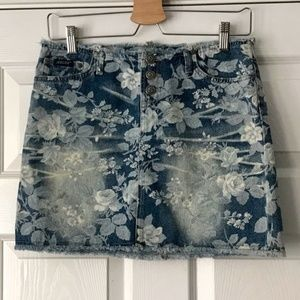 Sexy Floral Jean Cut Off Skirt